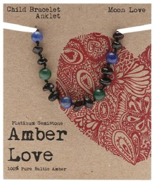 Children's Bracelet/Anklet Baltic Amber - Moon Love 14cm