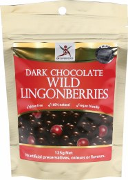 Wild Lingonberries Dark Chocolate Lingonberries 125gm