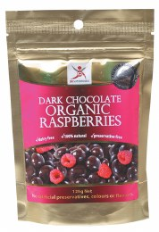 Organic Raspberries Dark Chocolate Raspberries 125gm