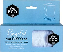 Reusable Produce Bags 4 Pack + Storage Pouch 4