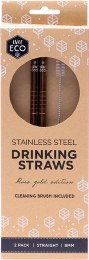 Stainless Steel Straws - Straight Rose Gold Edition 2
