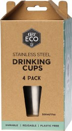 Stainless Steel Drinking Cups 4 pack 4x500ml