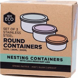 Stainless Steel Round Containers Spring Pastels - Leak Resistant