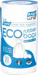 Eco Rubbish Bags Made from Sugarcane - Medium 27L x30