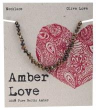 Children's Necklace Baltic Amber - Olive Love 33cm