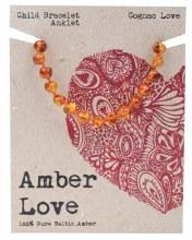 Children's Bracelet/Anklet Baltic Amber - Cognac Love 14cm