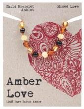 Children's Bracelet/Anklet Baltic Amber - Mixed Love 14cm