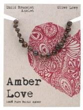 Children's Bracelet/Anklet Baltic Amber - Olive Love 14cm