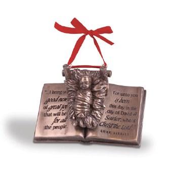 Baby Jesus On Bible Ornament