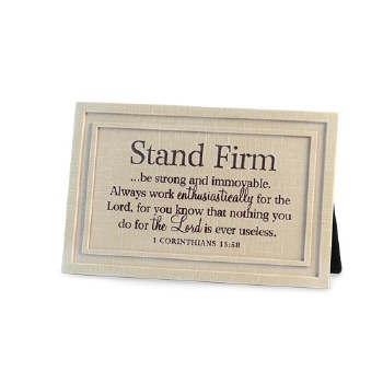 Stand Firm Cast Stone Plq