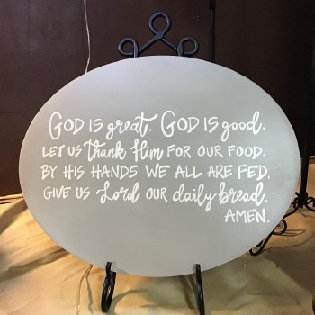 """Gray Wooden """"God Is Great"""" Plq"""