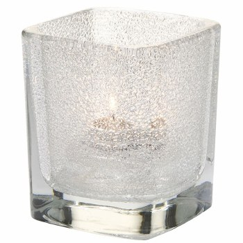 Square frosted candle holder