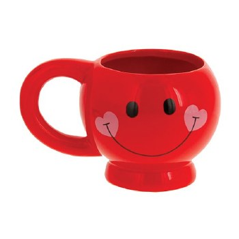 Ceramic Smiley Face Mug - Red