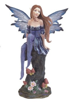 Fairy On Tree Stump Purple