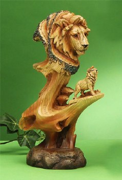 Wood-like Lion Scene Sculpture