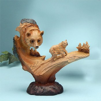 Wood-like Bear Sculpture