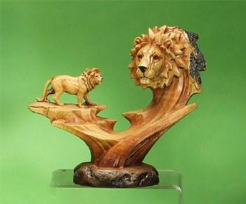 Wood-like Lion Scene Sculpture