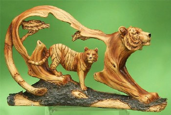 Wood-like Tiger Sculpture