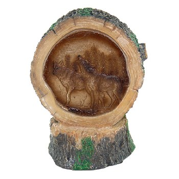 Light Up Tree Stump w/ Wolves