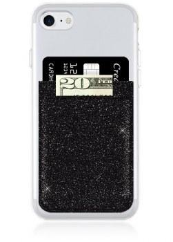 Black Glitter Phone Pocket