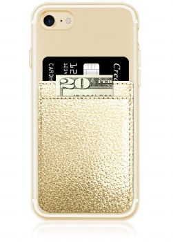 Faux Leather Gold Phone Pocket