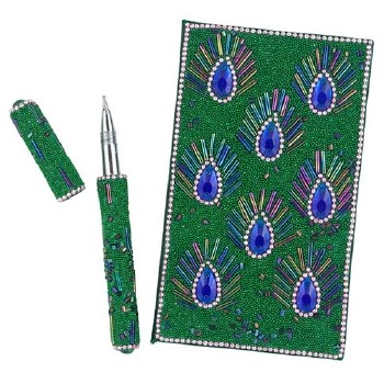 Beaded peacock eye notebook