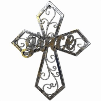 Glitter Silver/Gold Metal Cros