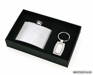 Flask/Keychain Gift Set Silver