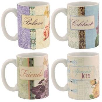 Floral & butterfly mugs asst