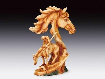 Wood-Like Horse w/ Warrior