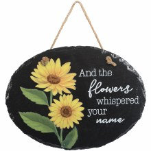 """Flowers"" Slate Garden Plaque"