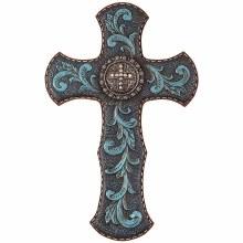 "14"" Turquse Baroque Wall Cross"