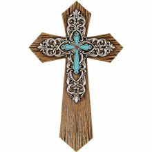 """Turquoise Scroll"" Wall Cross"