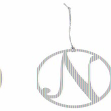 'N' Monogram Ornament 7.5""