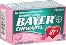 Bayer aspirin chld chw or tab