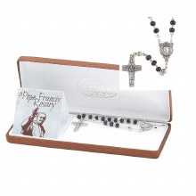 ROSARY POPE FRANCIS BROWN WOOD