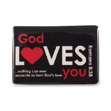 God Loves You Magnet Black