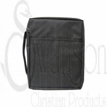 Canvas Bible Cover Black Pln L