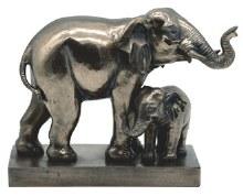 Bronze Elephant with Cub