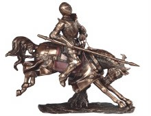 Bronze Medieval Knight on Hors
