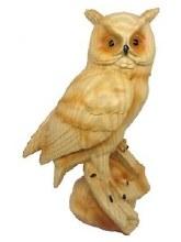 Wood-Like Owl Sculpture