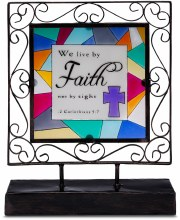 Faith Stained Glass Plaque