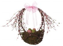 Twig Eggs In Oval Basket