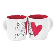 Begin Each Day Heart Mug