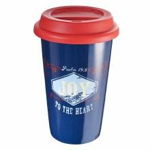Joy Blue Ceramic Travel Mug
