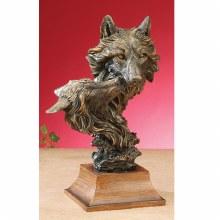 Bronzed Wolf Bust
