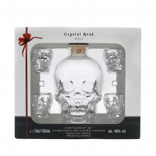 Crystal Head 750ml With 4 Skull Shot Glasses