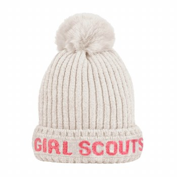 GS CHENILLE POM POM HAT OFF WH