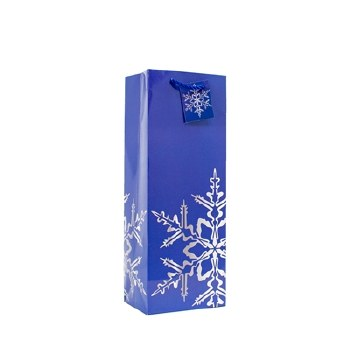 Blue Snowflake Wine Gift Bag