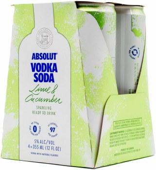Absolut Vodka Soda Lime Cucumber 4pk 12oz Can
